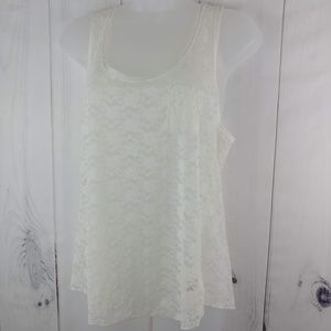 Forever21 Floral Lace Basic Sleeveless Tank Top